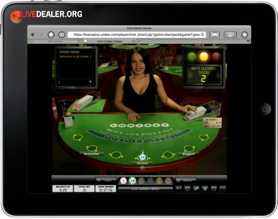 iPad live blackjack