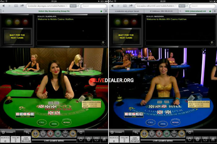 iPad live Casino Holdem poker