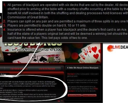 smart live blackjack house rules