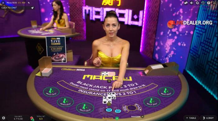 WH Macau private live blackjack