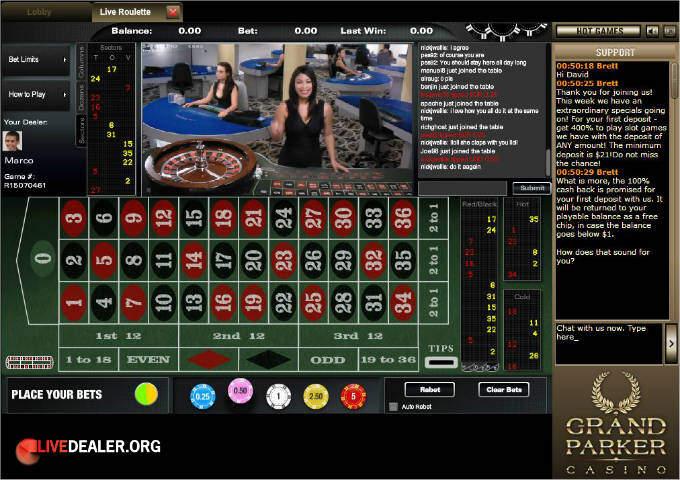 Grand Parker live roulette