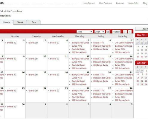live casino promotions calendar
