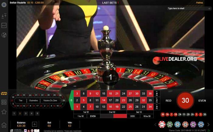 Live roulette @ Betfair