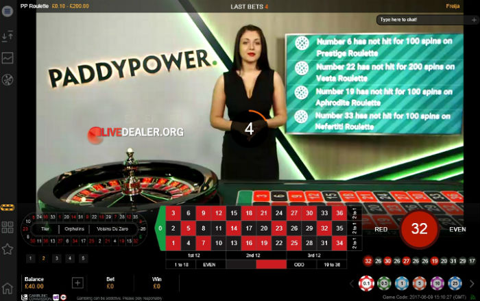 Live roulette @ paddy power