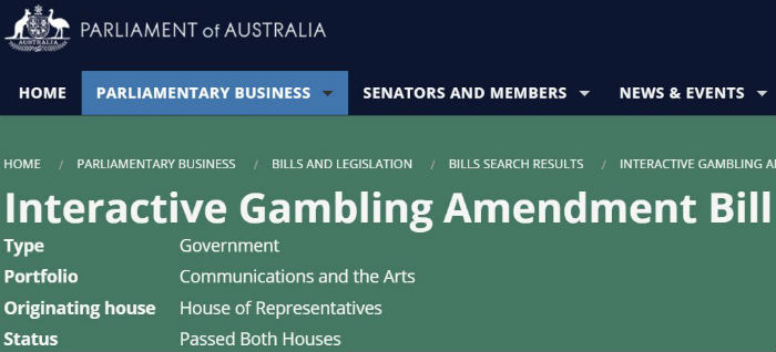 Interactive Gambling Amendment Bill