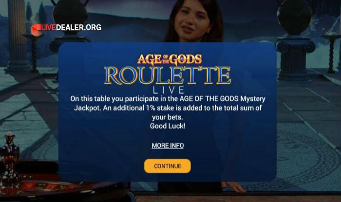 Age of Gods roulette jackpot info