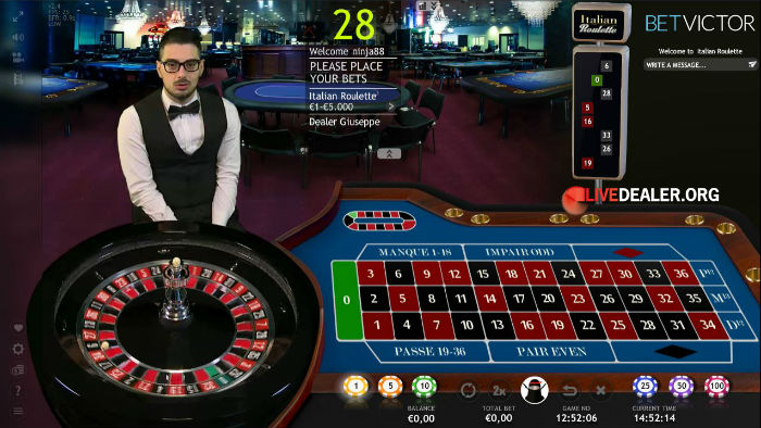 Live roulette italiana is played in italian play