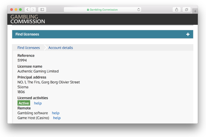 authentic gaming UKGC