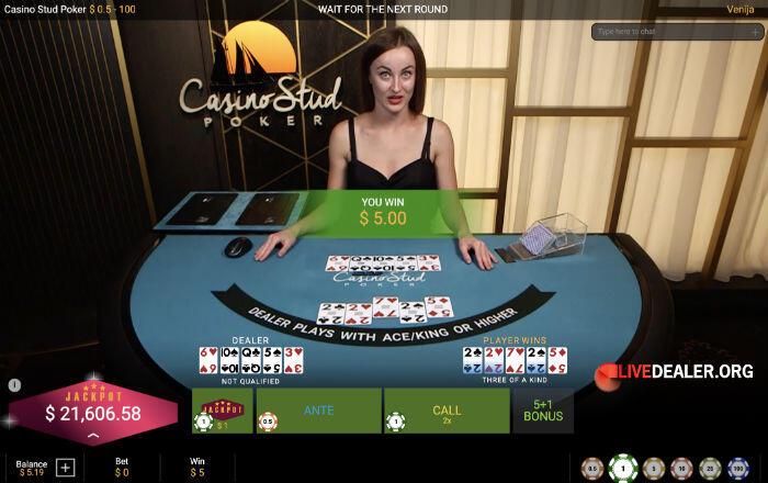 Playtech Casino Stud Poker player win