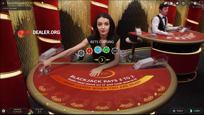 speed blackjack placebets