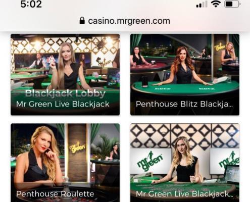 Mr Green mobile live dealers