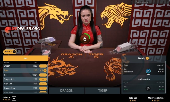 Bet on Dragon Tiger place bets