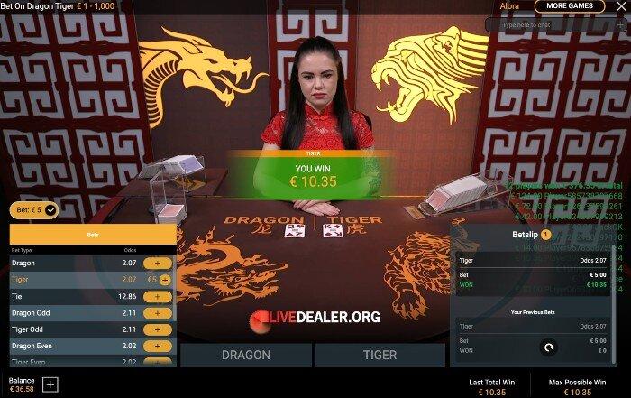 Bet on Dragon Tiger-win