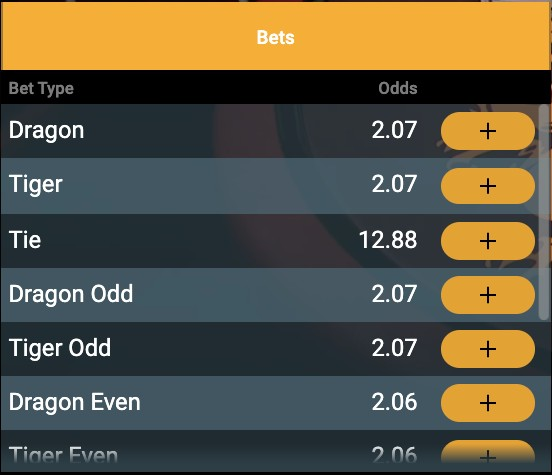 bet on dragon tiger bets