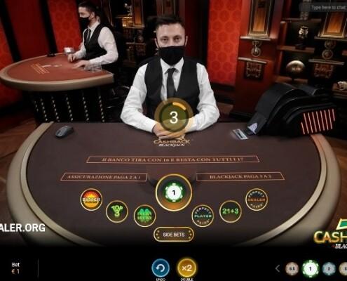 Cash Back Blackjack place bets