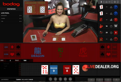 Bodog88 live dealer dragon tiger