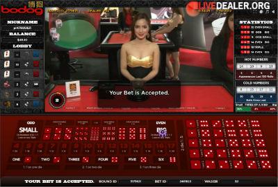 Bodog Asia live dealer sicbo