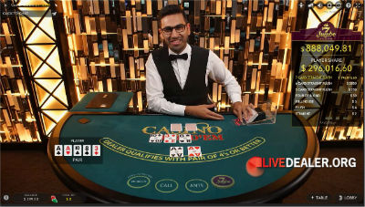 Evolution Gaming live casino hold'em poker with Jumbo 7 Jackpot